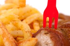 Free Curried Sausage And Chips Stock Photo - 19190390