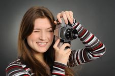 Free Woman  With Vintage Camera Royalty Free Stock Photography - 19190957