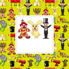 Free Cartoon Circus Card Stock Photo - 19190960