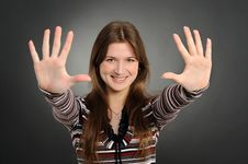 Free Woman Pointing At You With Both Hands Stock Images - 19190974