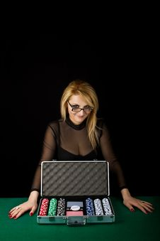 Sexy Blond With Poker Playing Set Stock Photos