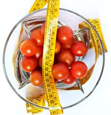 Free Tomatoes With Measuring Tape Isolated Royalty Free Stock Photography - 19191627