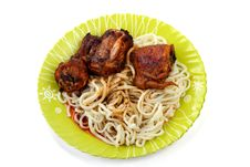 Roast Chicken With Noodles Stock Photos