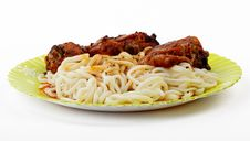 Roast Chicken With Noodles Royalty Free Stock Image