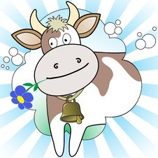 Free Cow On The Radiant Background Royalty Free Stock Photo - 19192105