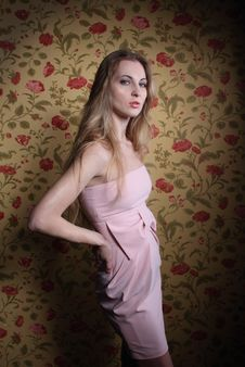 Free Portrait Of The Beauty Girl In Pink Dress Royalty Free Stock Image - 19192276