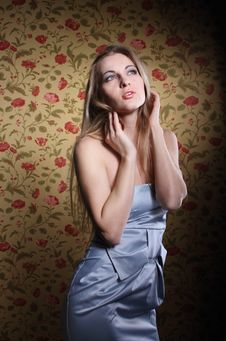 Free Beauty Young Blond Girl In Silver Dress Royalty Free Stock Photography - 19192317