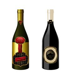 Free Illustration Of Set Wine Bottle With Label Stock Photography - 19192402