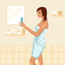 Free Pretty Women In Bathroom Stock Photography - 19192412