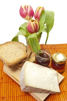 Free Cheese, Honey And Tulip Royalty Free Stock Images - 19192629