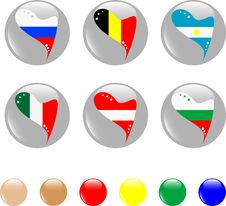 Free National Heart Flags Icon Shiny Button Stock Photo - 19192630