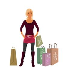 Free Fashion Shopping Girl With Bags Royalty Free Stock Image - 19192706