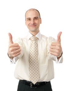 Successful Business Man Gesturing A Thumbs Up Sign Stock Images