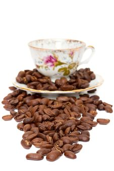 Free Coffee Beans And Coffee Cup Royalty Free Stock Photos - 19194668