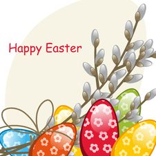 Free Willow Branches And Easter Eggs Royalty Free Stock Images - 19195329