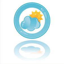 Glossy Cloud With Sun Button Royalty Free Stock Photos