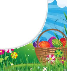 Free Basket Filled With Eggs  On The Meadow Royalty Free Stock Photo - 19195485