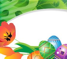 Easter Eggs And Spring Tulips Royalty Free Stock Photography