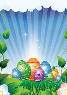 Free Easter Eggs On A Green Meadow Royalty Free Stock Photography - 19195497