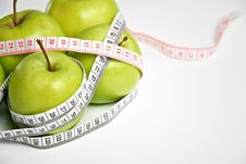 Fresh Green Apples With Measuring Tape Stock Images