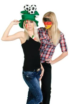 Two Sports Fans With Painted Faces Royalty Free Stock Photos