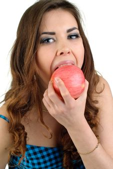 Young Beautiful Woman With Fruit In Studio Stock Photo