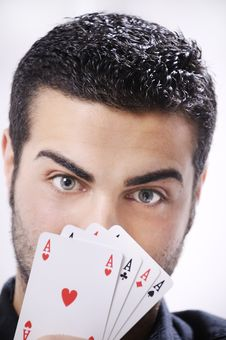 Portrait Of Man With Poker Cards Royalty Free Stock Photos
