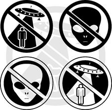 Set Of UFO Warning Signs Stock Photography