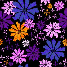 Free Floral Seamless Black Pattern Stock Photo - 19197230