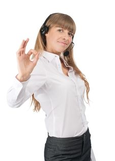 Free Operator Showing Ok Sign Royalty Free Stock Photography - 19197497