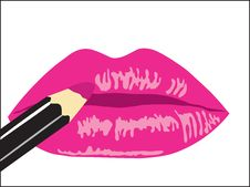 Free Background. Female Lips With Lipstick Royalty Free Stock Images - 19197519