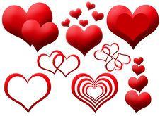 Free Clipart Of Red Hearts Royalty Free Stock Image - 19197756