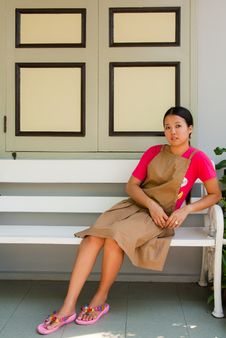 Young Thai Woman At The Farcade Royalty Free Stock Images