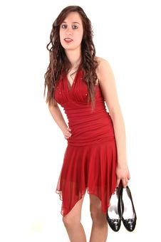 Free Girl In Red Dress. Royalty Free Stock Image - 19198566