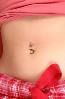 Girl Showing Belly Button. Stock Images