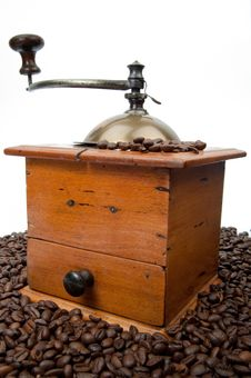 Free Coffee Grinder And Beans Stock Photography - 19198872