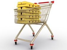 Free The Shopping Cart With Full Gold Ingots Stock Photo - 19198880