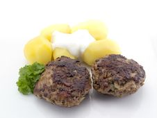Meatball With Potatoes Stock Photo