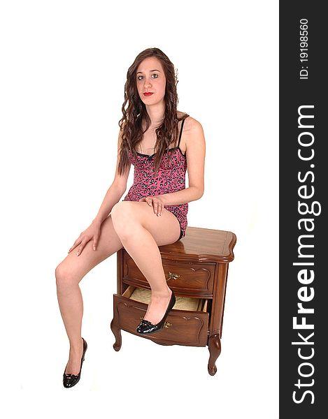 Girl in lingerie.