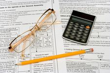 Free Glasses, Pencil And Calculator Stock Photo - 1922380