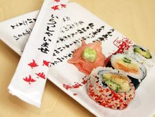 Free Sushi On A Japanese Plate Stock Photography - 1922862