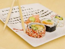 Free Sushi On A Japanese Plate 3 Stock Photos - 1922883