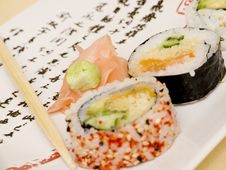 Free Sushi On A Japanese Plate 4 Royalty Free Stock Photography - 1922887