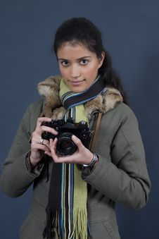 Free Young Girl With Camera Royalty Free Stock Photos - 1923878