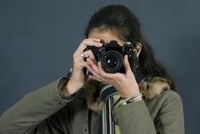 Free Young Girl With Camera Stock Image - 1923891