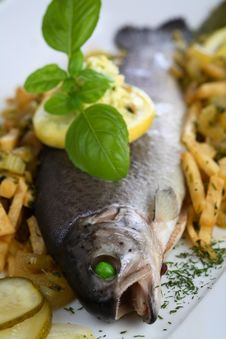 Free Oven Trout With Chips Fries Stock Photography - 1924142