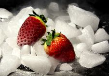 Free Two Strawberries On The Rocks Stock Photography - 1924672