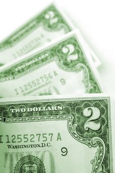 Two Dollar Bills Stock Images