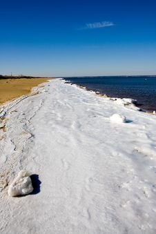 Frozen Atlantic Beach Stock Image