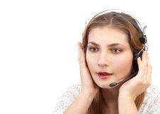 Techsupport Girl Is Talking Royalty Free Stock Photos